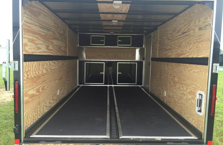X Motorcycle Trailer Cabinets E Track Rubber Flooring Brandywine Black
